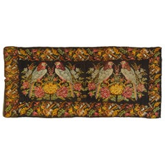 20th Century Black Garden Karabagh Kilim Rug in Wool Hand-Knotted with Parrots