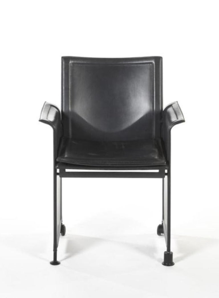 Midcentury leather armchair Korium by Tito Agnoli for Matteo Grassi. Made in 1980 and in very good condition, Italy.
