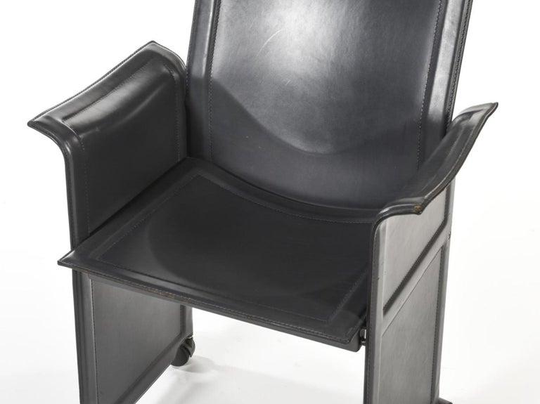 Italian 20th Century Black Leather Armchair