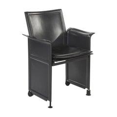 "20th Century Black Leather Armchair ""Korium"" by Tito Agnoli for Matteo Grassi"