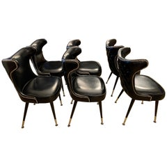 20th Century Black Leather Dining Chairs