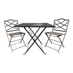 20th Century Black Metal Folding Breakfast Table and Chairs