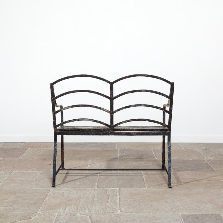 Brilliant 20Th Century Black Strap Work Garden Bench At 1Stdibs Cjindustries Chair Design For Home Cjindustriesco