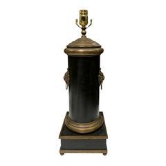 20th Century Black Tole Column Lamp with Brass Lion Pulls