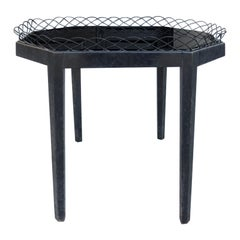 20th Century Black Tray Table with Glass Top