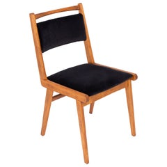 20th Century Black Velvet Chair, Poland, 1960s