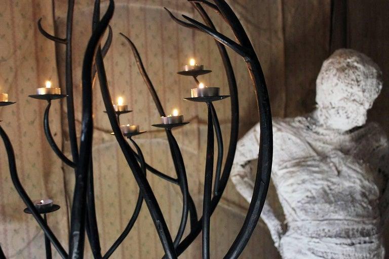 20th Century Black Wrought Iron Floor-Standing Ten-Sconce