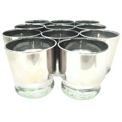 20th Century Blown Glass & Sterling Silver Cocktail Glasses, D.Thorpe, Set of 11