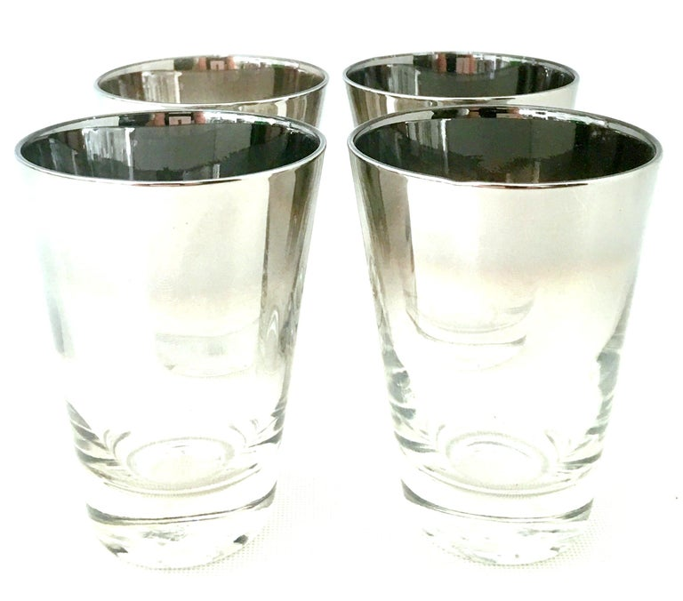 Blown Glass and Sterling Silver Drinks Set by Dorothy Thorpe, Set of 10 In Good Condition For Sale In West Palm Beach, FL