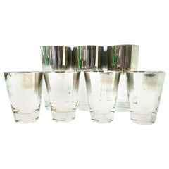 Vintage Blown Glass and Sterling Silver Drinks Set by Dorothy Thorpe, Set of 10