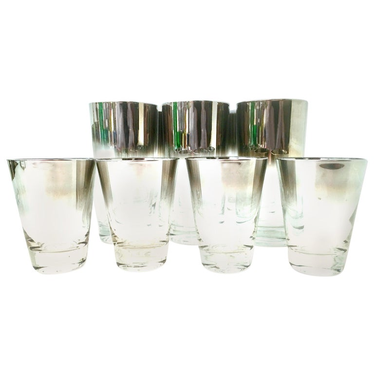 Blown Glass and Sterling Silver Drinks Set by Dorothy Thorpe, Set of 10 For Sale
