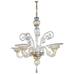 20th Century Blue and Gold Murano Glass Italian Chandelier