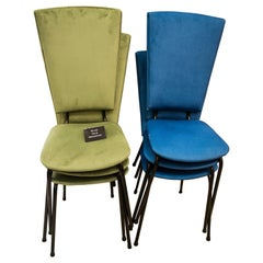 20th Century Blue and Green Fabric and Iron Italian Set of 6 Chairs ,1950