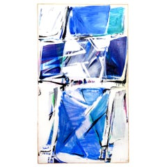 20th Century Blue and White Abstract Painting by Daniel Clesse