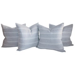 20th Century Blue and White Ticking Pillows, Collection of Four