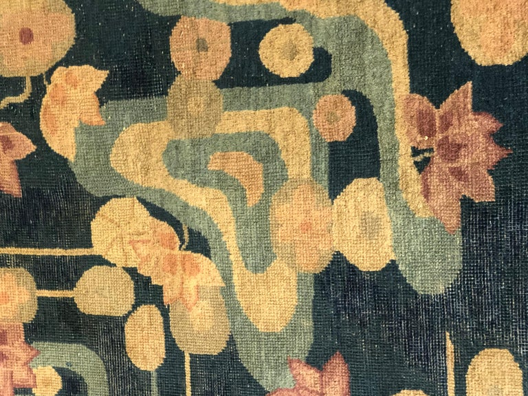 20th Century Blue and Yellow Wool Liberty Art Deco Chinese Rug, circa 1930 For Sale 6