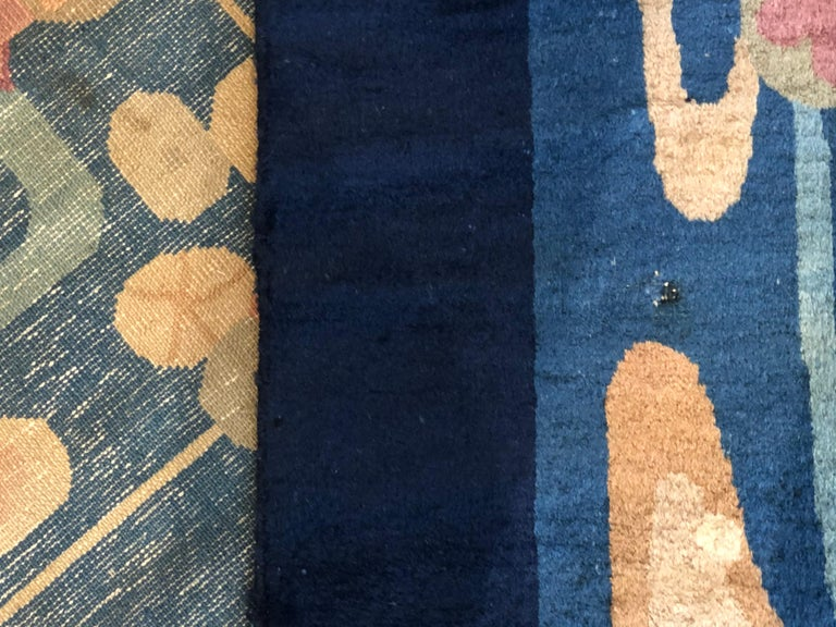 20th Century Blue and Yellow Wool Liberty Art Deco Chinese Rug, circa 1930 For Sale 7