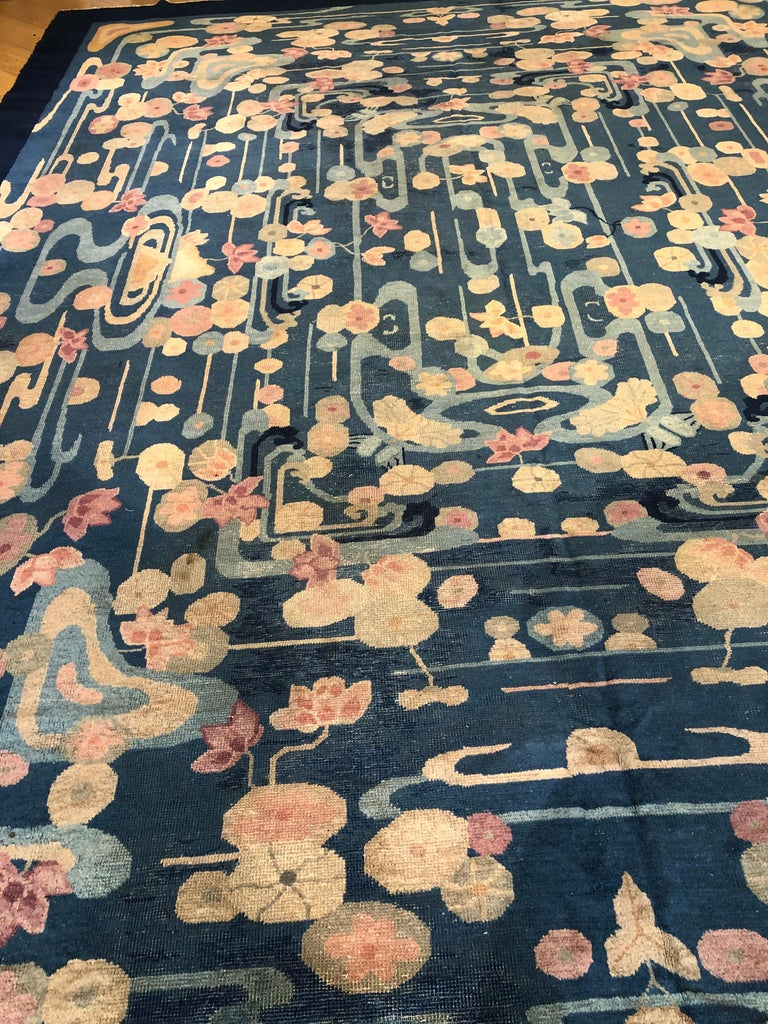 20th Century Blue and Yellow Wool Liberty Art Deco Chinese Rug, circa 1930 For Sale 8