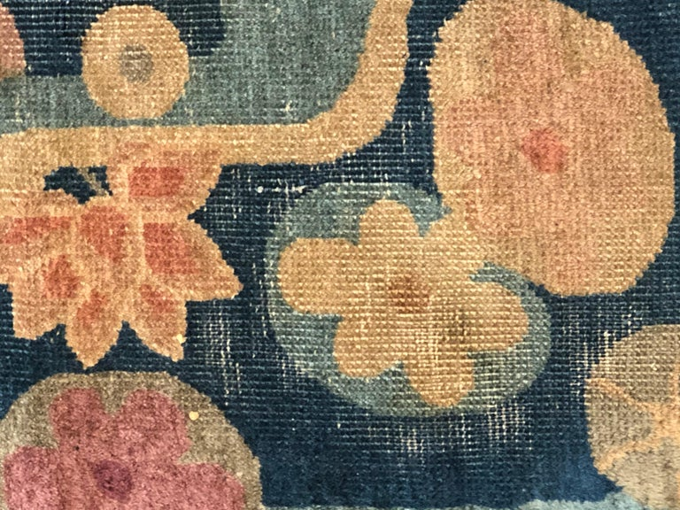 20th Century Blue and Yellow Wool Liberty Art Deco Chinese Rug, circa 1930 For Sale 12