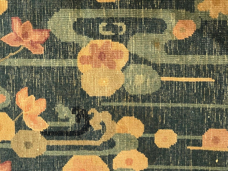20th Century Blue and Yellow Wool Liberty Art Deco Chinese Rug, circa 1930 For Sale 13