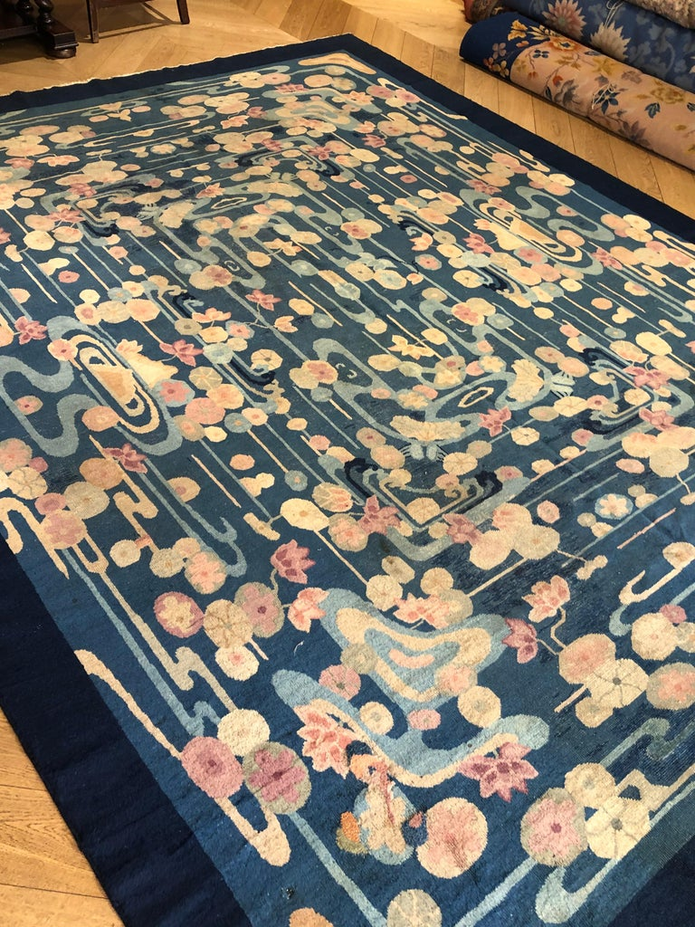 Hand-Knotted 20th Century Blue and Yellow Wool Liberty Art Deco Chinese Rug, circa 1930 For Sale