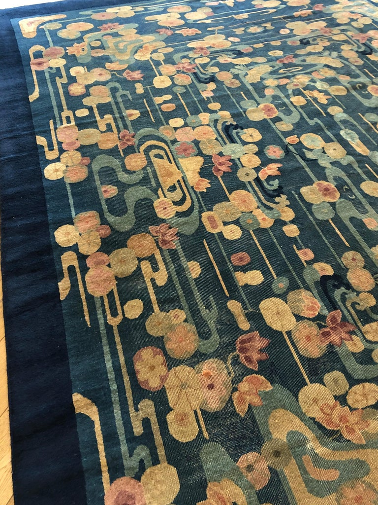 20th Century Blue and Yellow Wool Liberty Art Deco Chinese Rug, circa 1930 For Sale 1