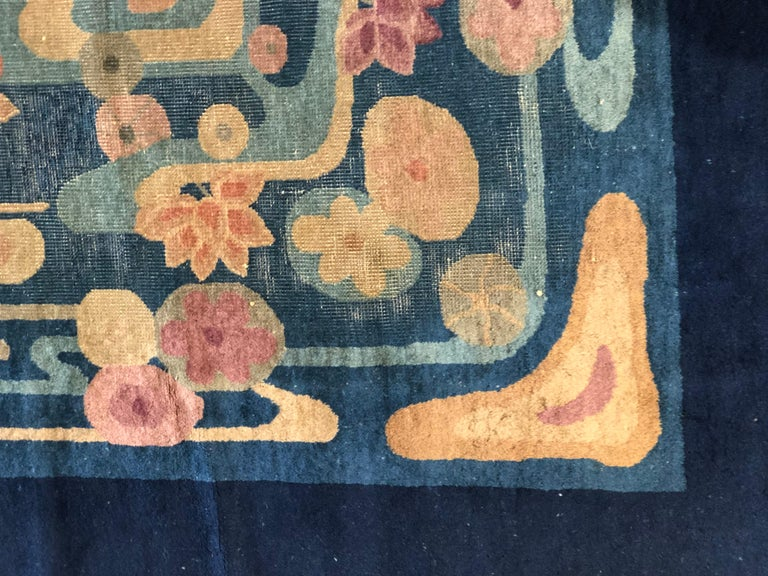 20th Century Blue and Yellow Wool Liberty Art Deco Chinese Rug, circa 1930 For Sale 3