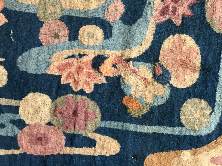 20th Century Blue and Yellow Wool Liberty Art Deco Chinese Rug, circa 1930 For Sale 4