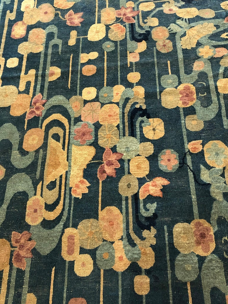20th Century Blue and Yellow Wool Liberty Art Deco Chinese Rug, circa 1930 For Sale 5