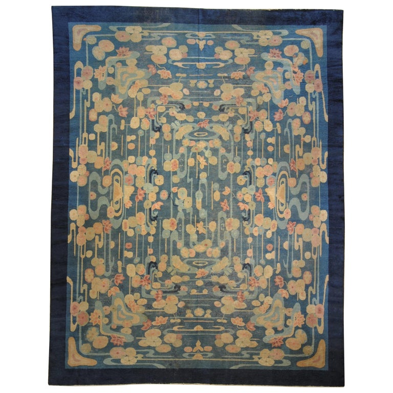 20th Century Blue and Yellow Wool Liberty Art Deco Chinese Rug, circa 1930 For Sale
