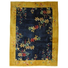 20th Century Blue and Yellow Wool Nichols Art Deco Chinese Rug, 1920-1940