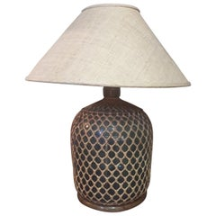 20th Century Blue Demijon with Rattan Table Lamp