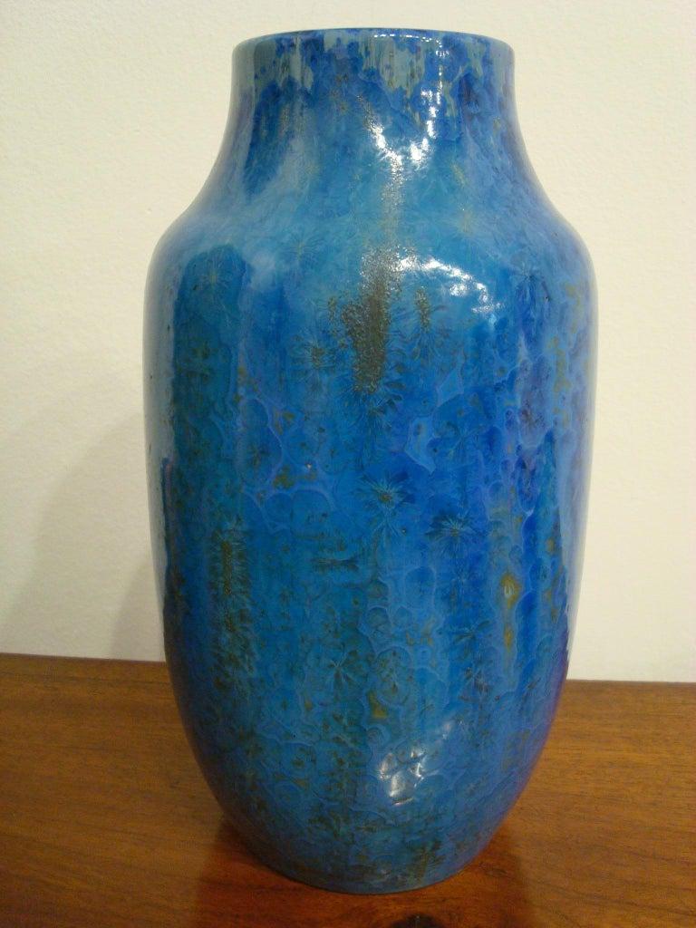 Art Nouveau 20th Century Blue French Pierrefonds Pottery Flower Vase, 1900s For Sale