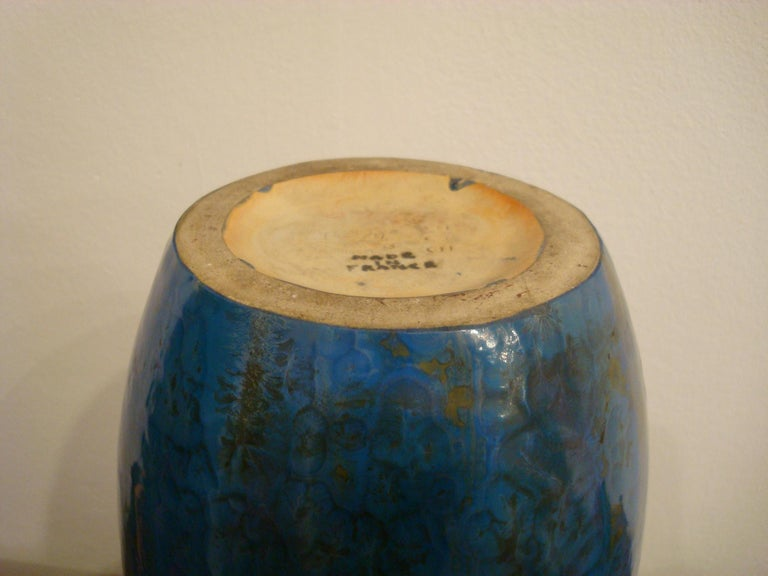20th Century Blue French Pierrefonds Pottery Flower Vase, 1900s For Sale 3