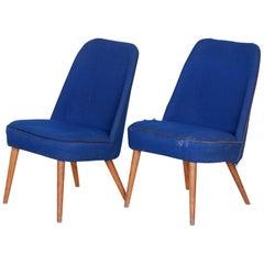 20th Century, Blue, Pair of Ash Armchairs, Czechia, Original Condition, 1950s