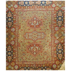 20th Century Blue Red Gold Pink Flat-Weave Medallions Indian Rug, circa 1920