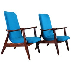 20th Century Blue Teak Lounge Chairs by Louis Van Teeffelen for Wébé, 1950s