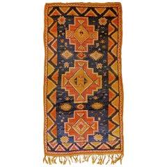 20th Century Blue Yellow Orange Berber Oouazouite Moroccan Rug, ca 1950