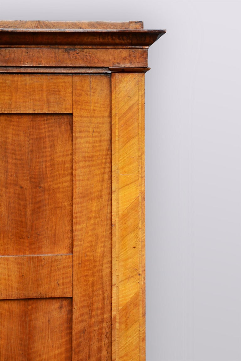 Czech 20th Century Bohemian Biedermeier Walnut Wardrobe Cabinet, Restored, 1920s