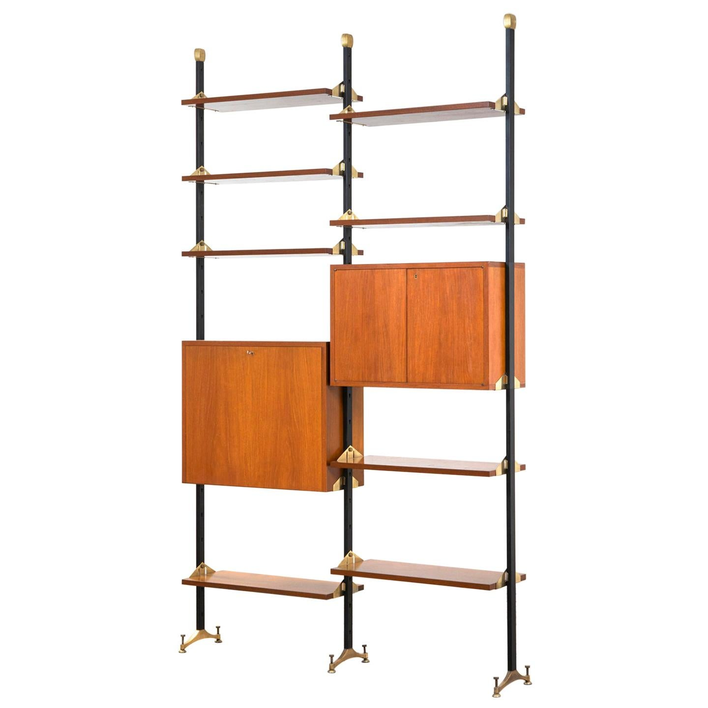 20th Century Bookcase with Shelves and Cabinets in Wood and Brass Italian School