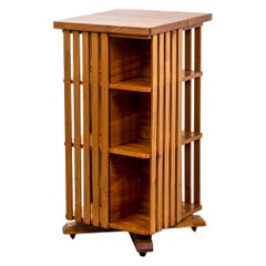 20th Century Bookcase with Shelves and Wheels in Wood Italian Production '50s