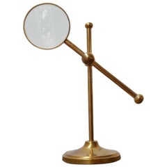 20th Century Brass Adjustable Magnifying Glass Lens