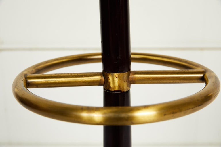 20th Century Brass and Mahogany Umbrella Stand For Sale 5