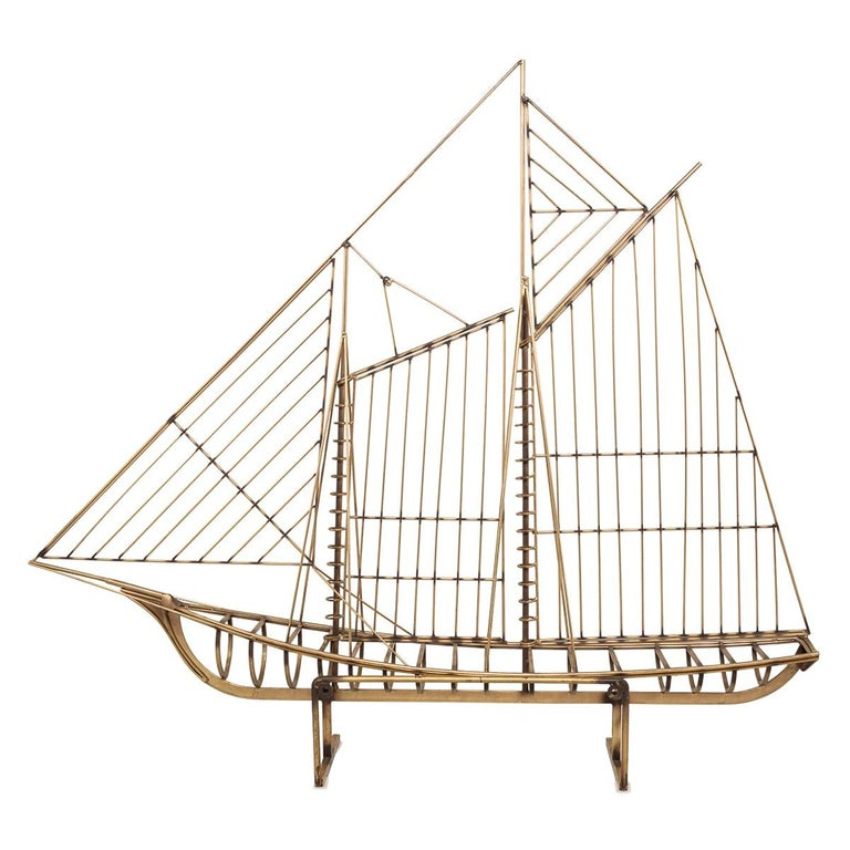 20th Century Brass Galleon Ship by Curtis Freiler & Jerry Fels, 1970s For Sale
