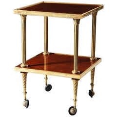 20th Century Brass & Mahogany Étagère or Trolley with Wheels, Maison Jansen