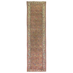 20th Century Brick Background Colorful Persian Malayer Runner