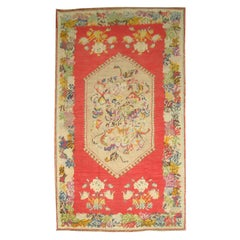 20th Century Bright Red Colorful Hand Knotted Turkish Ghiordes Rug