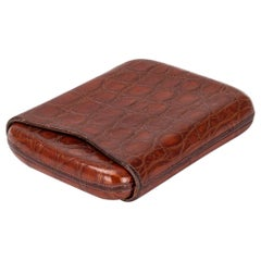 20th Century British Crocodile Leather Cigar Case, c. 1930