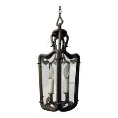 20th Century Bronze and Glass Three-Light Lantern