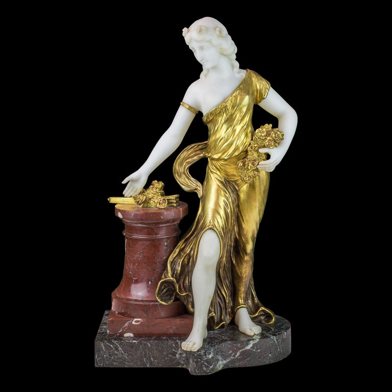 French Bronze and Marble Sculpture Statue of a Woman by H. Fugère For Sale